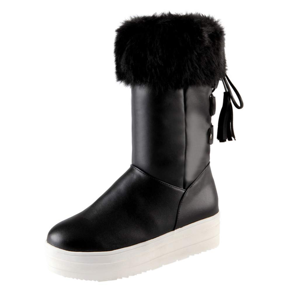 Clearance for Shoes,AIMTOPPY Thick-Brimmed Snow Boots Thick Warm Tassel Women's Boots