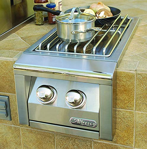 Alfresco Dual Side Burner for Built-in Grill (AXESB-2-LP), Propane, 14-Inch