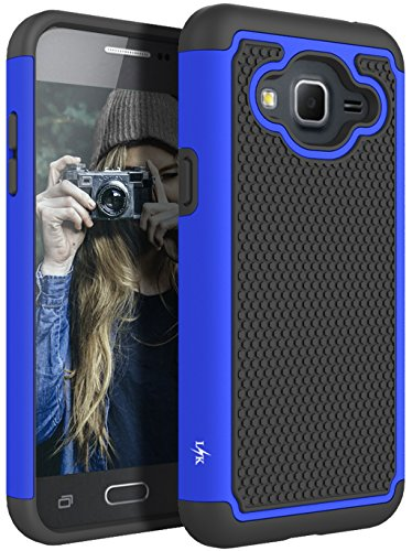 Leather T-mobile Case Fitted - J3 Case, Express Prime Case, Amp Prime Case, LK [Shock Absorption] Hybrid Armor Defender Protective Case Cover for Samsung Galaxy J3 / Express Prime/Amp Prime (Blue)