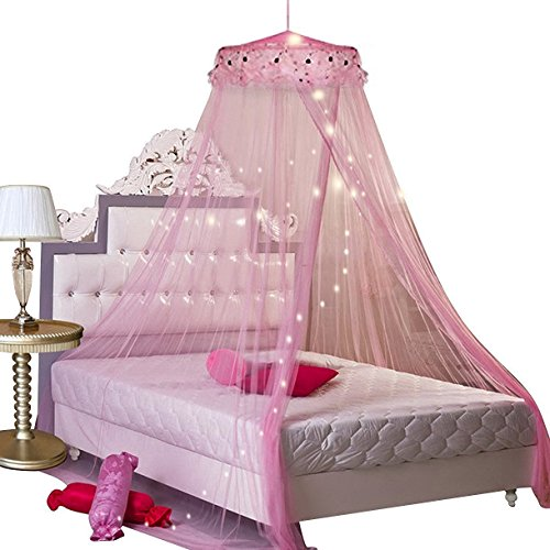 Round Lace Curtain Dome Bed Canopy Netting Princess Mosquito Net for Kids Girl Baby Crib Round Dome Kids Indoor Castle Play Tent House Decoration (pink)