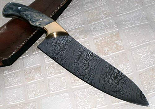 RK-237 B, Style Damascus Steel Chef Knife - Brass Bolsters & Colored Bone Handle