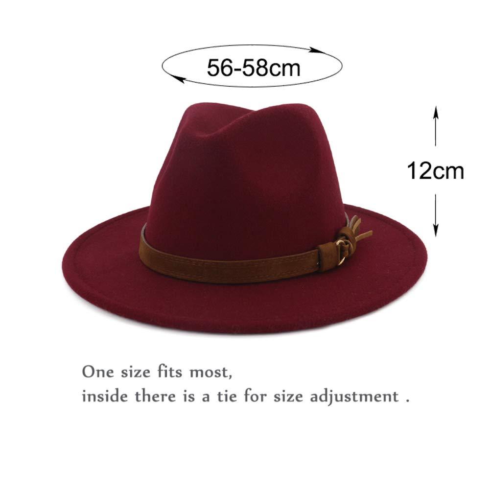 Vim Tree Unisex Wide Brim Felt Fedora Hats Men Women Panama Trilby Hat with Band