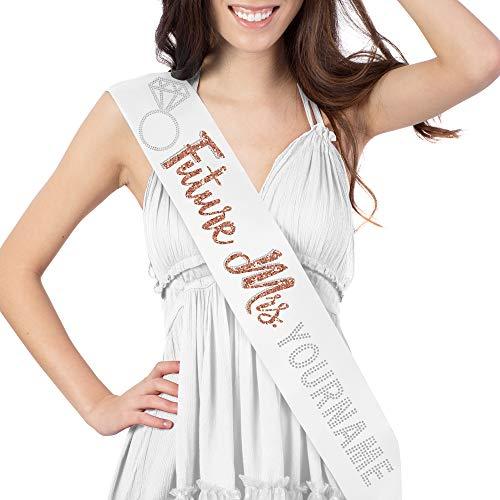 Future Mrs with Custom Last Name Rose Gold & Rhinestone Satin Sash - White