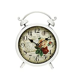 Adeco CK0038 Old World-Inspired White Iron Alarm Clock Style Wall Hanging or Table Clock with Roses & Post Card Design, White