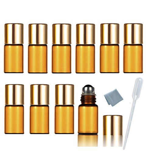 - SIMPLE-E 3ml Amber Glass Roll on Essential Oil Empty Perfume Bottle w/ Stainless Steel Roller Ball Pack of 10pcs