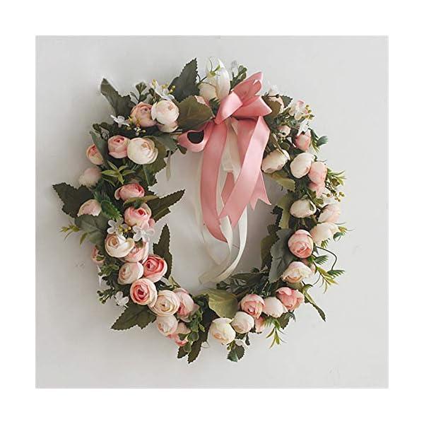 Liveinu Artificial Peony Wreaths for Front Door Flowers Arrangements Wedding Table Centerpieces Wreath Garland for Wall Home Door Garden Office Wedding Decor 12″ Pink Door Wreath