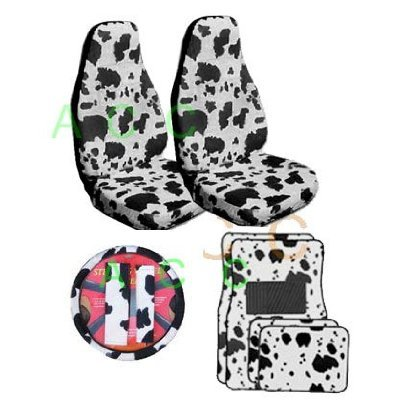 9 Piece Safari Animal Print Auto Interior Gift Set - 2 Cow Front Bucket Seat Covers, 1 Cow Steering Wheel Cover,2 Cow Shoulder Harness Pressure Relief Cover, 2 Cow Front Floor Mats, and 2 Rear Floor (Safari Print Seat Covers)
