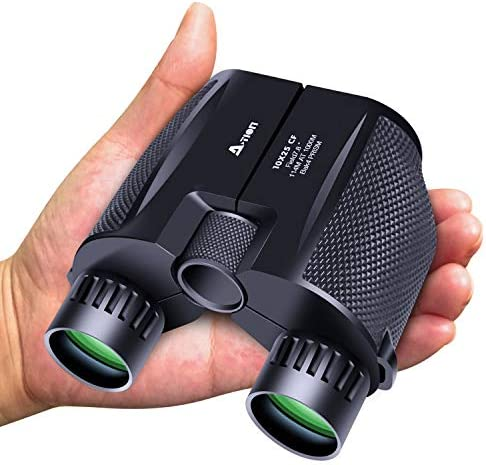 A-TION 10 x 25 High Powered Compact Binoculars for Adults, Lightweight Waterproof Binoculars for Bird Watching Adults Kids, Wildlife Hunting Portable Pocket Binoculars Telescope for Travelling