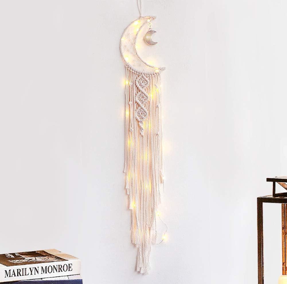 KHOYIME Moon Dream Catcher Macrame Wall Hanging - Bohemian Home Decor Handmade Woven Decoration for Kids Room Home Wedding Ornament Craft Gift (moon-light)