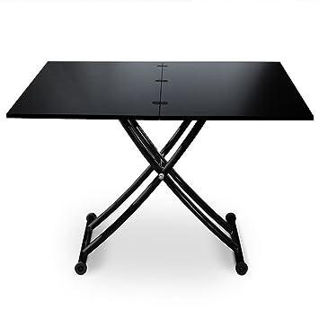 la moitié 68016 1b20d Intense Déco Philadelphia Table Basse Relevable, Métal, Noir, 100 x 57 x  76,3 cm