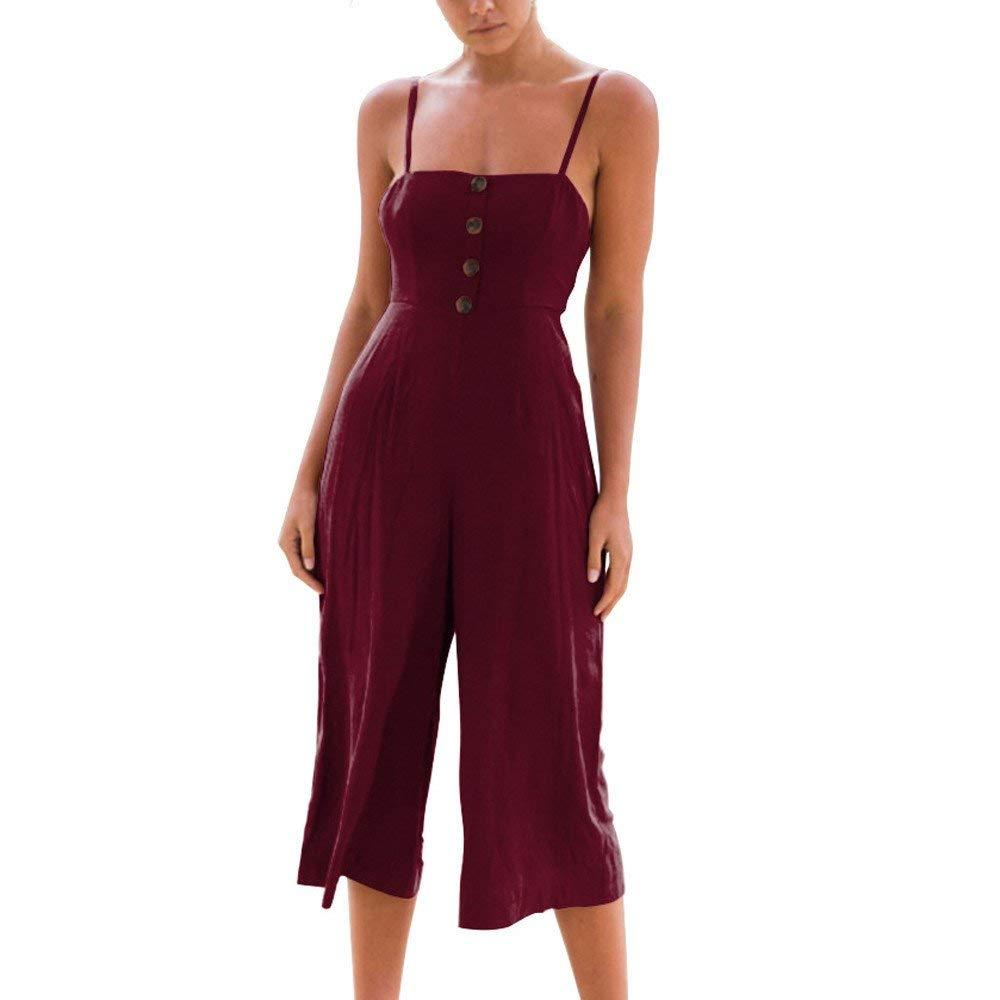 GWshop Ladies Fashion Elegant Jumpsuit Women Jumpsuits Elegant Wide Leg Summer Strappy Soild Button Long Trouser Playsuits Wine S by GWshop (Image #1)