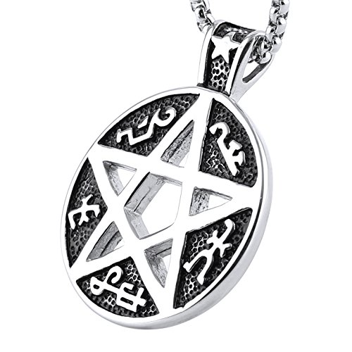 Devils Trap (HZMAN Supernatural Devils Trap Symbol Sigil Stainless Steel Pendant Necklace Pentagram Anti Possession (A))