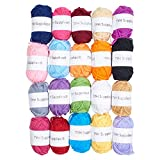 TYH Supplies 20 Skeins Bonbons Yarn Assorted Colors 44yd Each 100% Acrylic for Crochet & Knitting Multi Pack Variety Colored Assortment 44 Yards Each Bonbon