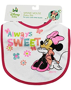 Hot Pink Always Sweet Disney Minnie Mouse Baby Bib