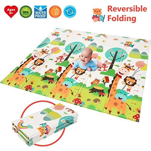 Foldable Play Mat Easy to Clean, Fold Up BPA Free Non-Toxic Foam Baby Playmat 79 x 70 x 0.6 Thick Extra Large Reversible Crawling Mat Portable Toddlers Kids Cute Giraff