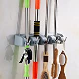 Multi-functional Plastic Mop Broom Holder with Hooks and Slots #1113 (4B5)