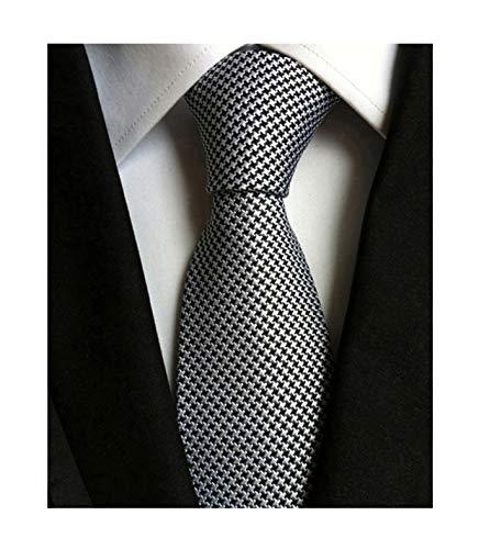 Secdtie Men's Classic Solid Color Ties Soft Business Casual Attire Suit Neckties (One Size, Silver Black) ()