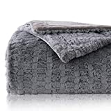Bedsure Faux Fur Reversible Fleece Blanket - Super Soft Fuzzy Lightweight Blanket for Couch Chair Sofa and Bed(Twin 60'x80', Grey)