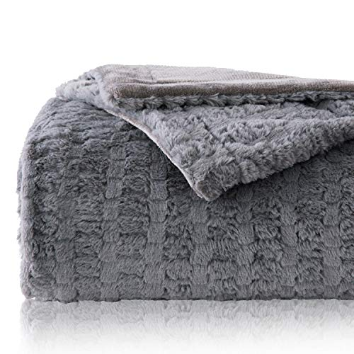 (Bedsure Faux Fur Reversible Fleece Blanket - Super Soft Fuzzy Lightweight Blanket for Couch Chair Sofa and Bed(Twin 60