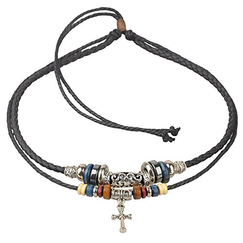 Ethnic Cross (Ancient Tribe Adjustable Ethnic Hemp Leather Charm Necklace,Black,Cross Pendant)