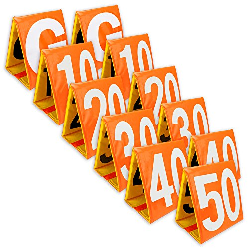 Day & Night Football Yard Markers, Full Set of 11 by Crown Sporting Goods by Crown Sporting Goods