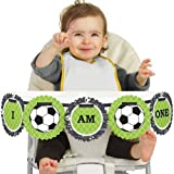 Big Dot of Happiness GOAAAL! - Soccer 1st Birthday - I Am One - First Birthday High Chair Banner