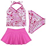 FEESHOW Girls 3 Pieces Halter Tankini Swimsuit Swimwear with Skirt Bathing Suit
