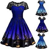 iDWZA Womens Halloween Vintage Lace Short Sleeve Gown Evening Party Dress Skirt