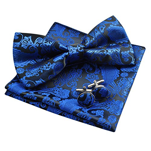 Men's Paisley Bow Tie& Hanky& Cufflinks Set (Royal Blue)