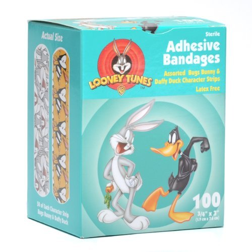 Looney Tunes Adhesive Bandages, Bugs Bunny & Daffy Duck. 3/4