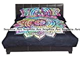 Sophia Art Exclusive Tye & Dye Flower ombre Duvet Doona Quilt Cover Comforter Indian Ombre Mandala Hippie Bohemian Queen Set With Pilow Cover