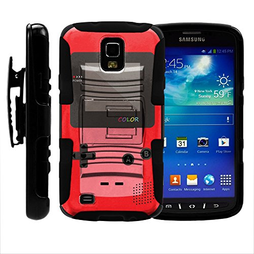 Samsung Galaxy S4 Active Phone Cover, Belt Clip, 2 in 1 Hybrid Armor w/Kickstand and Dazzling Designs for Samsung Galaxy S4 IV Active I9295, SGH-I537 by MINITURTLE - Red Gameboy Color