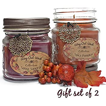 Way Out West Spicy Pumpkin & Sangria Jar Candle Gift Pack Set 2 for Holidays - Fragrant, Long Lasting Soy Wax Blend Scented Candles - Delightful Cranberry/Orange & Best Pumpkin Like Grandma's Kitchen!