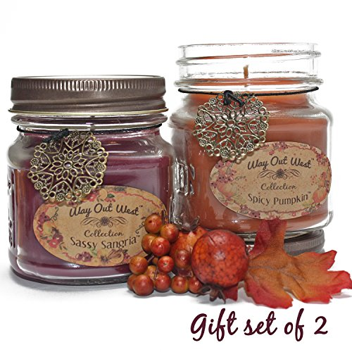 Way Out West Spicy Pumpkin & Sangria Jar Candle Gift Pack Set 2 Jar Candles- Fragrant, Long Lasting Soy Wax Blend Scented Candles - Delightful Cranberry Orange & Best Pumpkin Like Grandma's Kitchen! (Gift Candles Set)
