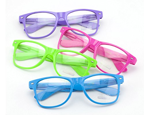 Vision World Eyewear 4 Pack Assorted Neon Color 80's Retro Classic Party Nerd Clear Lens Glasses - Bulk Glasses Nerd