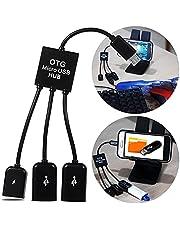 Cabo Micro Usb Otg Hub 2 Portas Usb e 1 Micro Usb com Carregador de Celular Tablet para Pendrive Teclado e Mouse