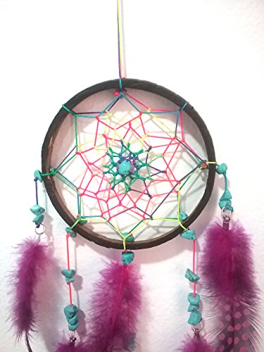 Chevere Small Dream Catcher Handmade Coconut Feather Native American Wall Hanging Decoration Decor Ornament Craft, Dia 3.9inch/9.9cm Length 13inch/33cm