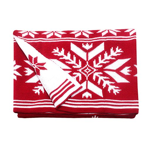 Gazebo Green Red Winter Snowflake Reversible Knit Throw on Couch