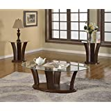 Brassex 7172-13 Ambrose Oval 3-Piece Coffee Table Set
