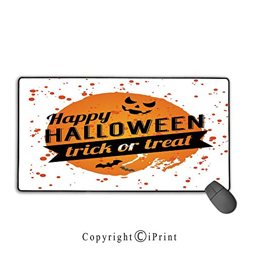 Extended Gaming Mouse pad with Stitched Edges,Halloween,Happy Halloween Trick or Treat Watercolor Stains Drops Pumpkin Face Bats,Orange Black White, Non-Slip Rubber Base,9.8