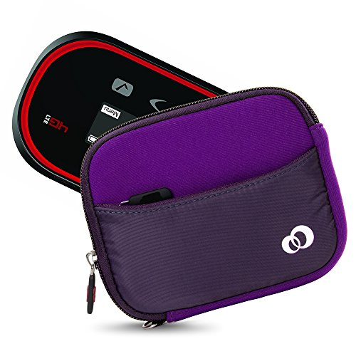 Mini Portable WiFi HotSpot Modem & Router Mobile Carrying Case Sleeve for Verizon, AT&T, Sprint, Virgin Mobile, T-Mobile, MiFi Jetpack 4G LTE + Secure Hand Wrist Strap (Purple) (Charger Hotspot Verizon)