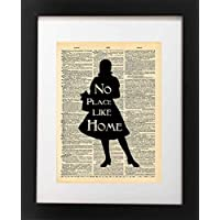 Wizard of Oz Art Quote - Dorothy No Place Like Home Quote - Vintage Dictionary Print 8x10 inch Home Vintage Art Abstract Prints Wall Art for Home Decor Wall Decor Living Room Bedroom Ready-to-Frame