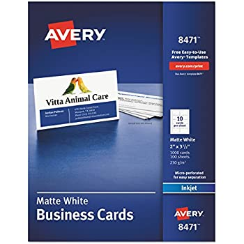 Amazon avery 5371 printable microperf business cards laser 2 avery 8471 printable microperf business cards inkjet 2 x 3 12 white matte box of 1000 fbccfo Choice Image