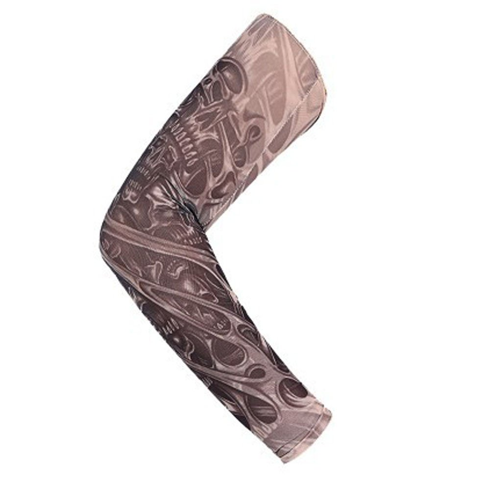 1Pc Nylon Elastic Temporary Tattoo Sleeve Body Arm Stockings UV Protection Tattoo Arm Sleeves for Men Tattoo Sleeves Cover up Full Sleeve - Running, Cycling (F)