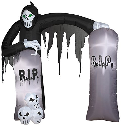 Gemmy Airblown Inflatable Grim Reaper Archway with Tombstones and Skulls - Holiday Decoration, 8.5-Foot Tall x 8-Foot Wide x 3.5-Foot Deep