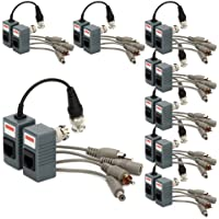 Generic BNC to RJ45 CAT5 Video + Audio + Power Balun Transceiver for CCTV Camera (pack of 8)