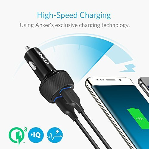 Anker 39W Dual USB Car Charger with Quick Charge 3.0, PowerDrive Speed 2 for Galaxy S7/S6/Edge/Plus, PowerIQ for iPhone X/8/7/6s/Plus, iPad Pro/Air 2/mini, LG, Nexus, HTC and More by Anker (Image #3)