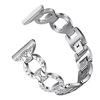 "bayite Metal Bands Compatible with Fitbit Versa Watch, Figure Eight O-Link with Rhinestones, 3 Colors Available 5.5"" - 8.1"""