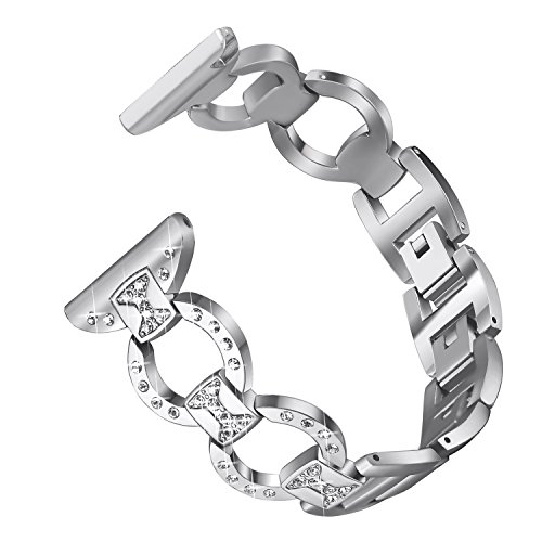 bayite Metal Bands Compatible with Fitbit Versa Watch, Figure Eight O-Link with Rhinestones, Silver 5.5