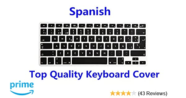 f234744887f HRH Spanish Language Silicone Keyboard Cover Skin for MacBook Air 13,MacBook  Pro13/15/17 (with or w/Out Retina Display, 2015 or Older Version)&Older iMac  ...